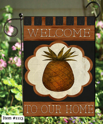 Pineapple Garden - Welcome Pineapple ....   Double Sided Soft Flag   **GARDEN SIZE**   FG1113