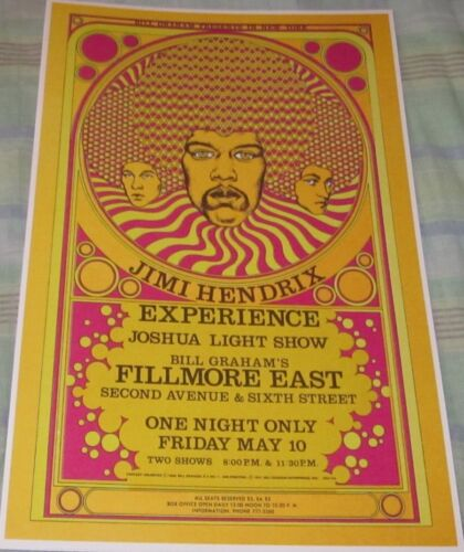JIMI HENDRIX EXPERIENCE 1968 FILLMORE EAST REPLICA CONCERT POSTER