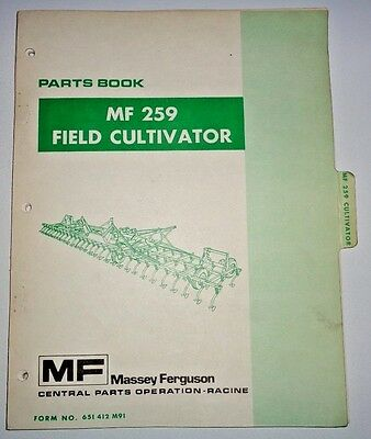 Massey Ferguson Mf 259 Cultivator Parts Catalog Manual Book Original