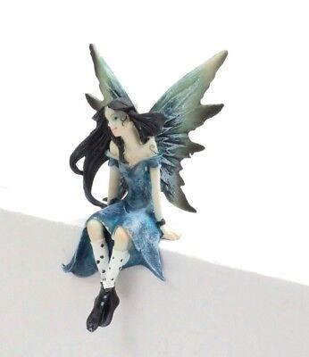Mystical Fairy Figurine Small Shelf Sitter Fairie with Blue Dress and Wings