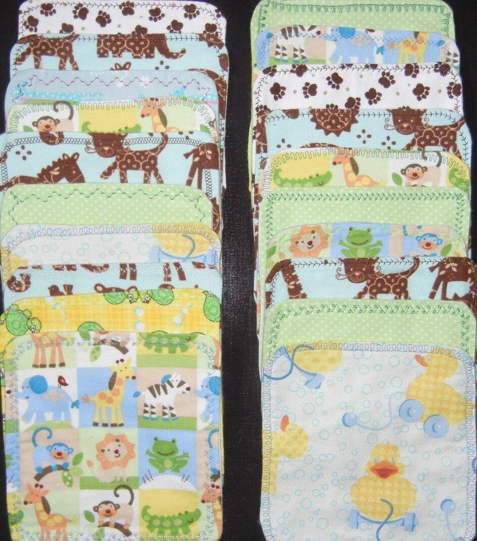 5  handmade cloth wipes/washcloths double flannel  gender  neutral