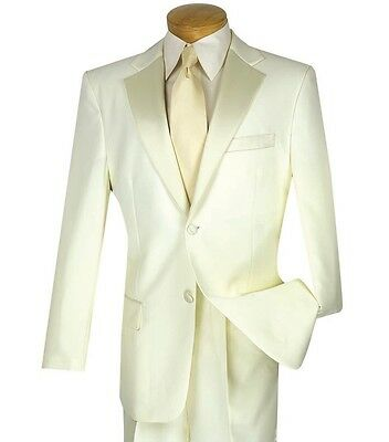 Men's Ivory Classic Fit Formal Tuxedo Suit w/ Sateen Lapel & Trim NEW Wedding - White Tailored Suit