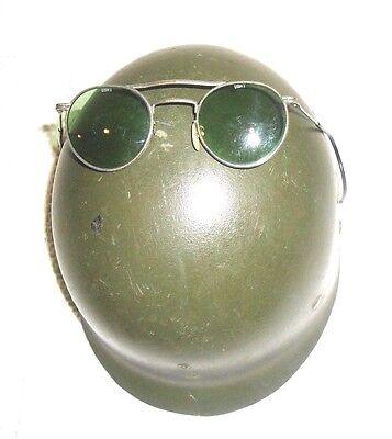 WWII Infantry Trooper Helmet Liner & WWII Vintage Aviator Pilot Sunglasses