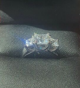 925 SILVER 1.5ct PRINCESS CUT DIAMOND 3 STONE ANNIVERSARY RING SIZE N