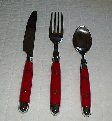 Red Rivited Cambridge Stainless Steel Flatware 3Pc Set Utensils Fork Knife Spoon Cambridge Stainless Steel Fork