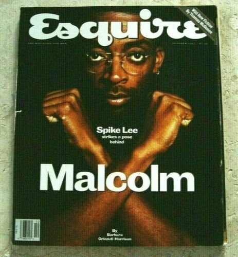 ESQUIRE MAGAZINE OCTOBER 1992 SPIKE LEE STRIKES A POSE BEHIND MALCOLM X