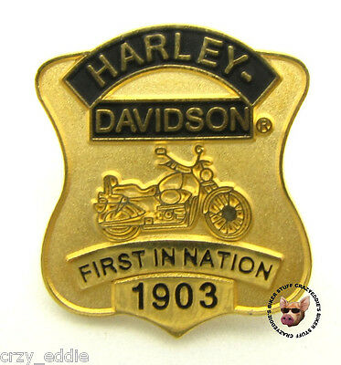 HARLEY DAVIDSON FIRST IN NATION MOTORCYCLE BADGE VEST PIN ** OBSOLETE DESIGN **
