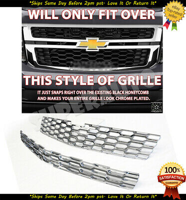 2015-2020 Chevy Tahoe Suburban CHROME Snap On Grille Overlays Grill Cover Insert