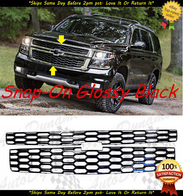 2015-2020 Chevy Tahoe Suburban Glossy Black Snap Over Grille Overlay LT&LS Model