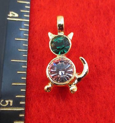 14KT GOLD EP CAT PET MAY EMERALD CRYSTAL BIRTHSTONE PENDANT CHARM