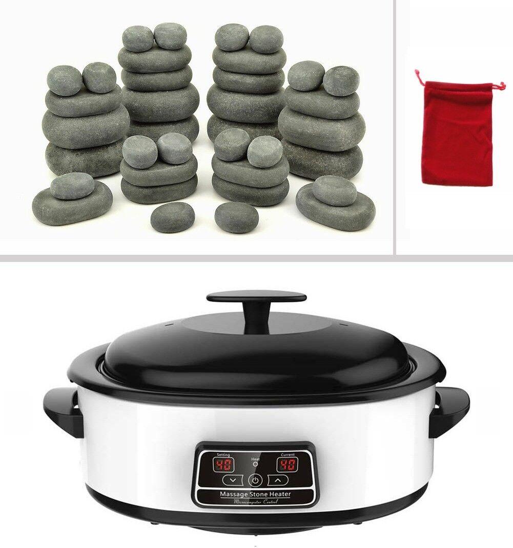 MassageMaster Hot Stone Massage Set - 36 Basaltsteine, Wärmegerät 6 Liter