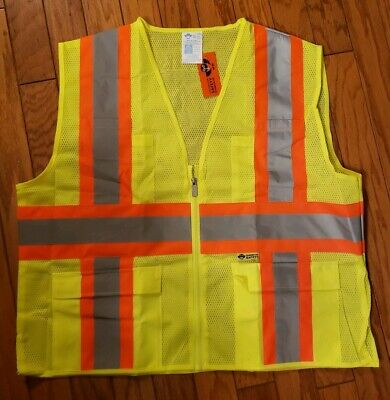 High Visibility Zipper Safety Vest Yellow with Orange/ Silver Reflective Stripes