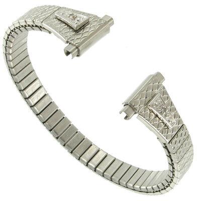 Speidel 10-13mm Double Diamond White Gold Tone Watch Band Vintage NOS Rare