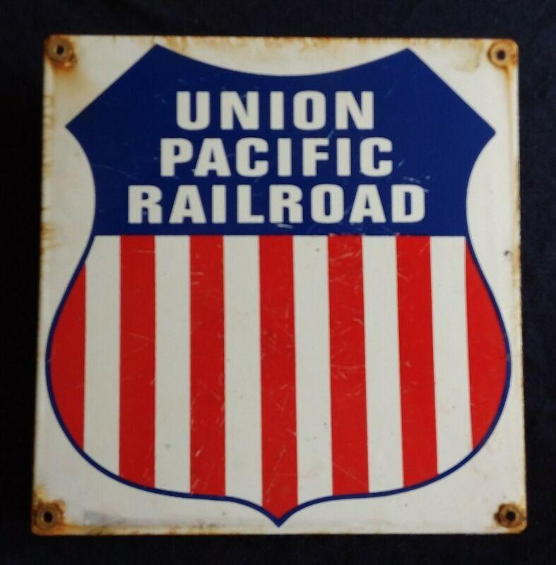 VINTAGE UNION PACIFIC RAILROAD PORCELAIN ADVERTISING SIGN