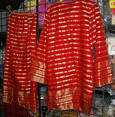 WOMENS RED & GOLD BOLLYWOOD INDIAN SARI SKIRT AND TOP HALLOWEEN - Sari Halloween Costume
