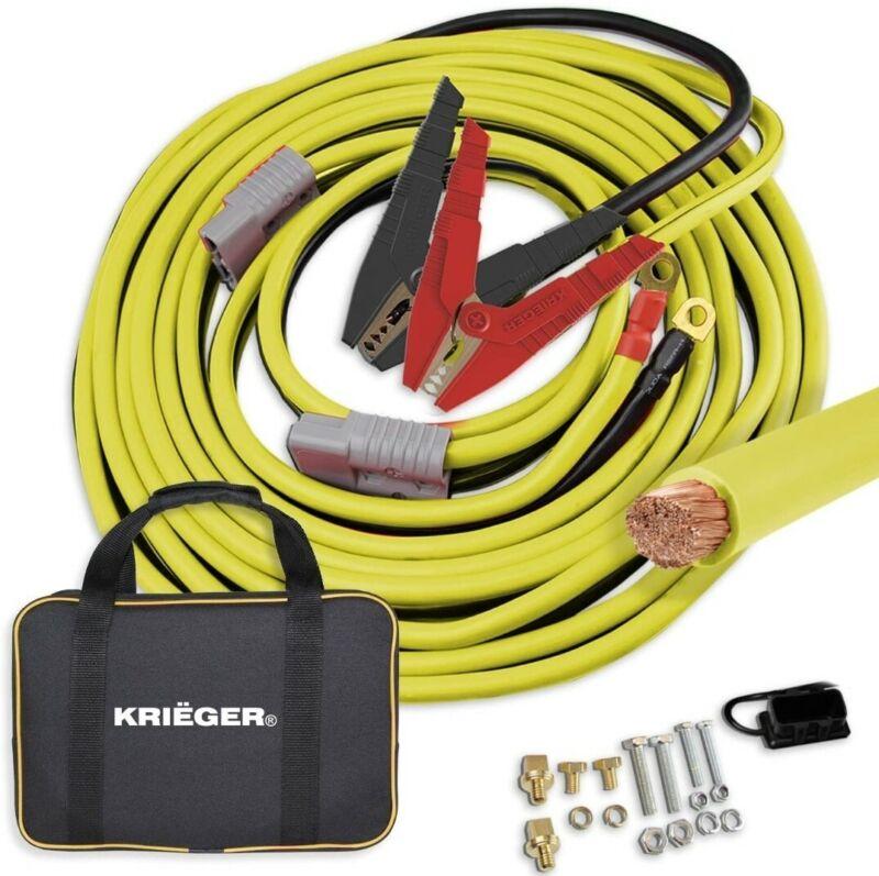 Krieger Jumper Cables for Car Battery, 100% Pure Copper Heavy Duty Automotive