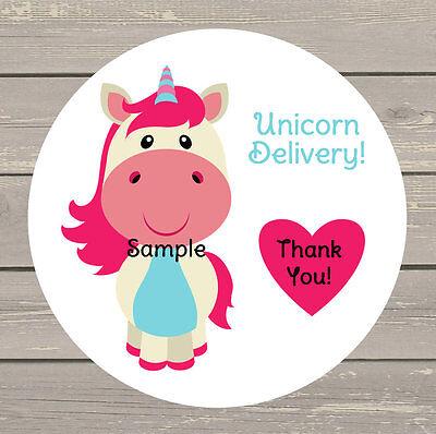 120 White Round Printed LuLaRoe Unicorn Delivery Customer Stickers Seals