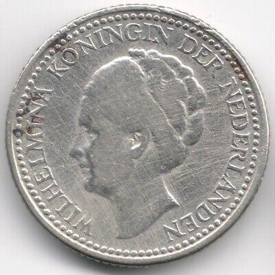 Netherlands : 1/2 Gulden 1929 Silver Variety B : 3 Pearls under G