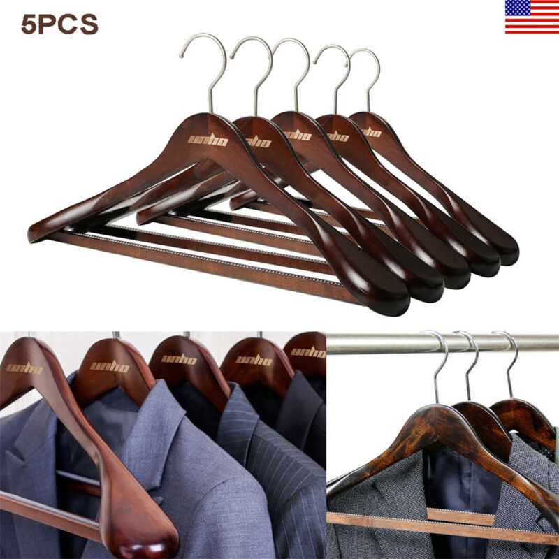 5pc Extra Wide Wood Hangers Suit for Coats and Pants Anti-rust Strong Hook Retro