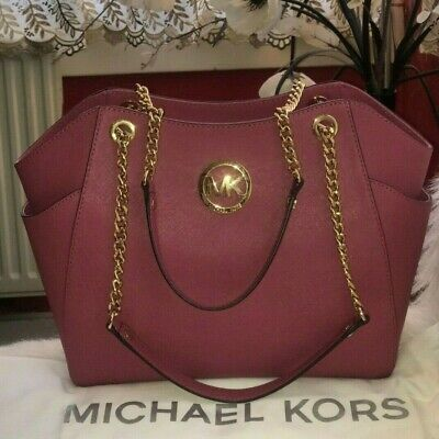 *Used Once Michael Kors *JET SET CHAIN* Leather Shoulder Bag RRP £275,Dusty Pink