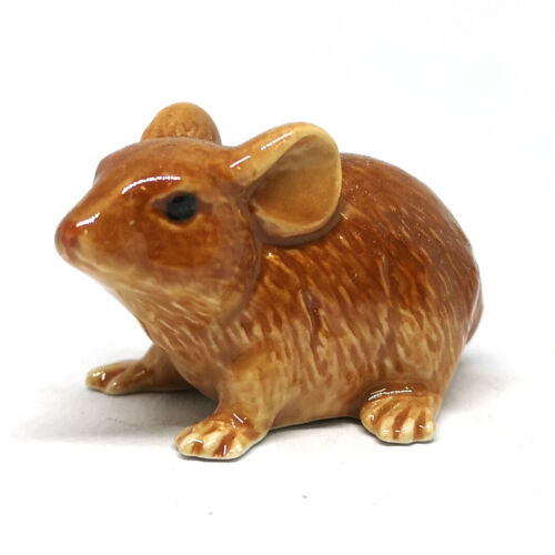 Ceramic Brown Rat Mouse Figurine Hand Painted Miniature Collectible Statue