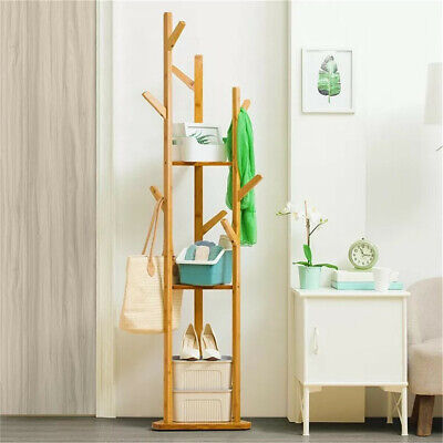 Sturdy Natural Bamboo Tree Garment Clothes Coat Hat Hanger Stand Rack w/ Shelves ()