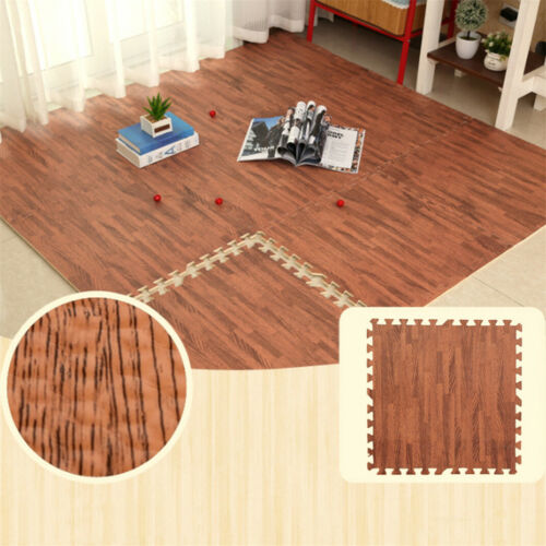 1/2'' Thick Set Interlocking Floor Mat 96 Sq Ft Wood Grain
