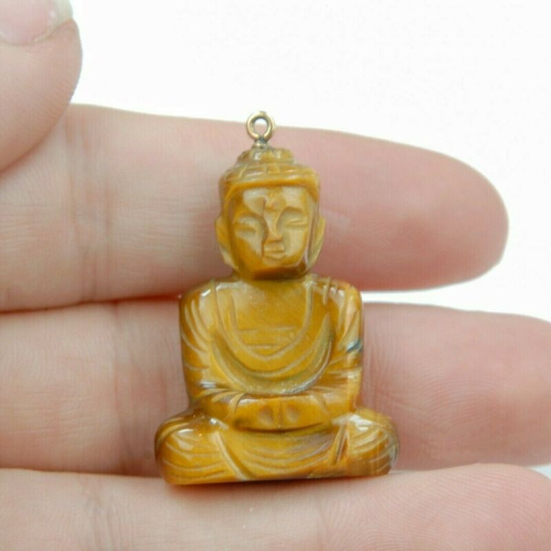Vintage Tigerseye Carved Buddha Charm Pendant 14K