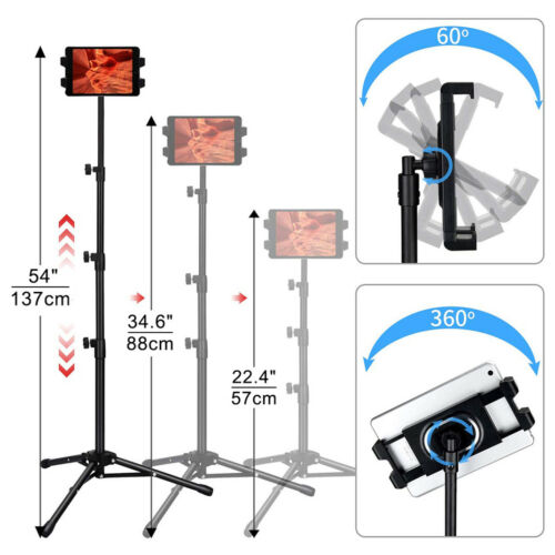 Height Adjustable Tablet Floor Stand Tripod Mount Holder