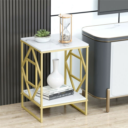 Marble Tabletop Gold Metal Frame Sofa Side End Table