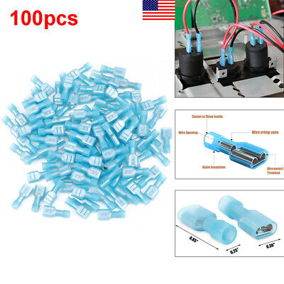 100Pcs Fully Insulated Blue Female Quick Disconnects Spade Connector 1/4