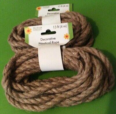 """Diy Nautical Decor (2-13 ft Floral Garden Decorative Nautical Rope 3/8"""" diameter Craft DIY Natural)"""