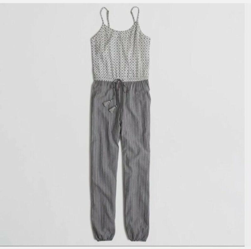 J. Crew Cotton Black White Gray Full Length Cotton Jumpsuit Romper MEDIUM