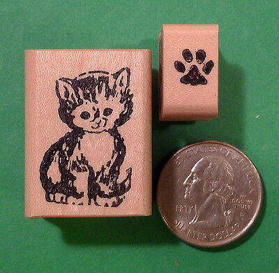 Cute Kitty and Mini Paw Print Set of (2) Wood Mounted Rubber Stamps