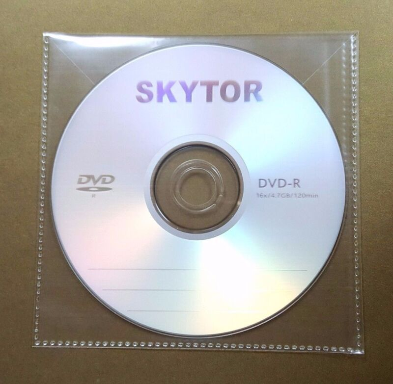 400 CD DVD CPP Clear Plastic Sleeve with Flap, stitching on borders, 100micron