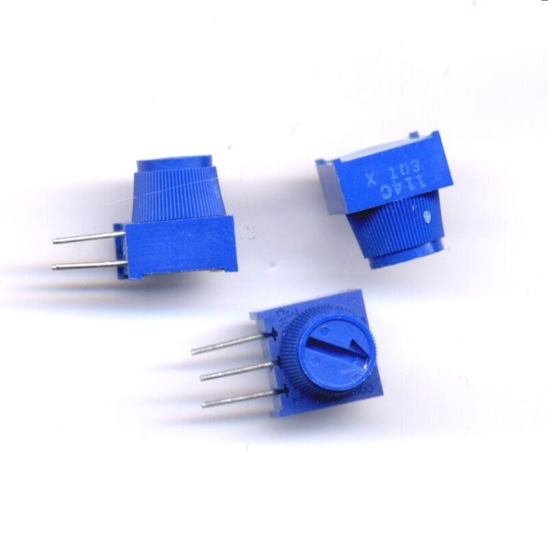 10 K ohm Trimmer - Single Turn w Knob - Bourns 3386x001103T
