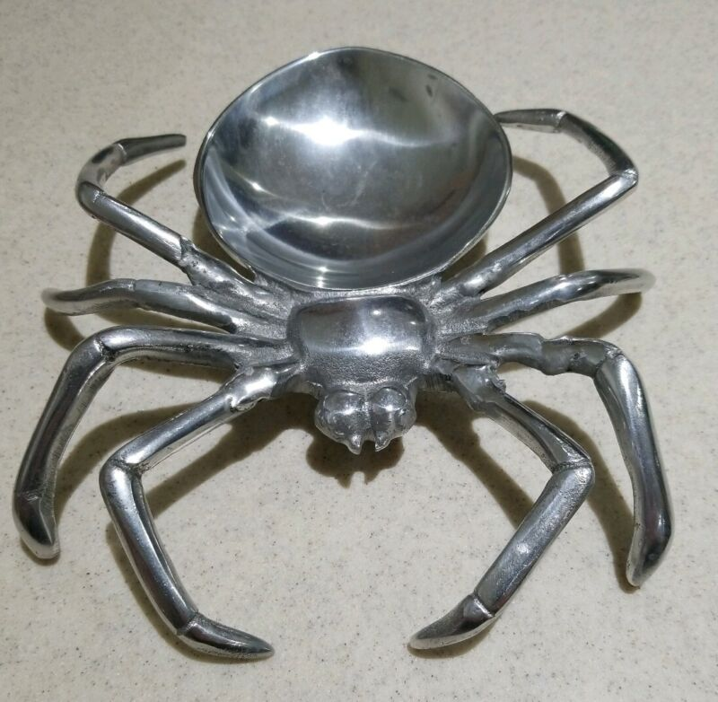 Large Creepy Silver Metal Spider Dish Candy Snack or Dip Serving Bowl Halloween