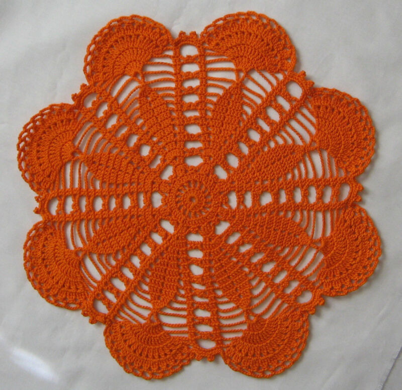 """New Hand Crocheted Doily 11"""" round Color is Pumpkin Handmade US"""