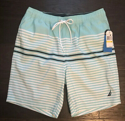 "NWT Men's Nautica Swim Trunks Aqua Sky Lined 8"" Size Medium"