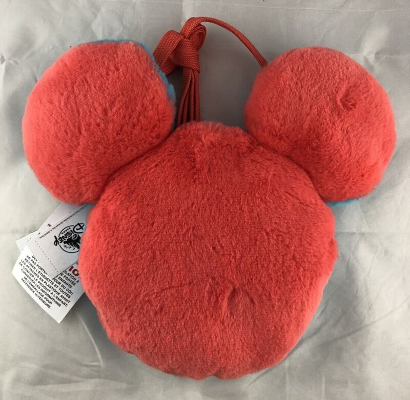 Disney Parks Plush Crossbody Bag Mickey Mouse Icon Ears Red Blue - NEW