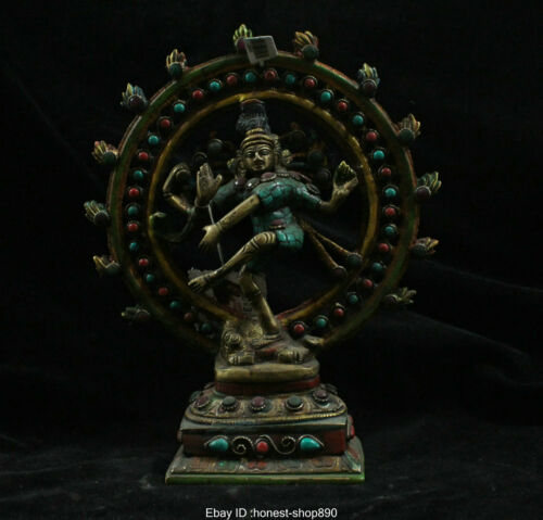 China Tibet Bronze Gild Inlay Turquoise Vajravarahi Dorje Phakmo Buddha Statue