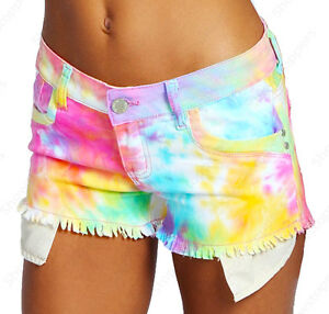 NEW Womens SHORTS DENIM Neon Bright Ladies HOT PANTS Size 6 8 10 12 14 short
