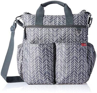 Skip Hop Duo Diaper Bag  Messenger Bag, Grey Feather