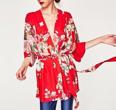 Rot Floral Kimono (ZARA STUDIO KIMONO JACKE BLUMEN MUSTER GÜRTEL FLORAL TROPICAL PRINTED JACKET L)