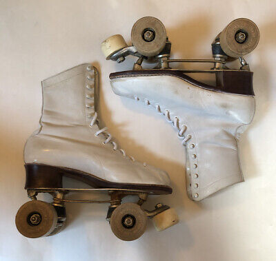 Vintage Jiffy Minuteman 55 Roller Derby Skates White Leather Great Condition