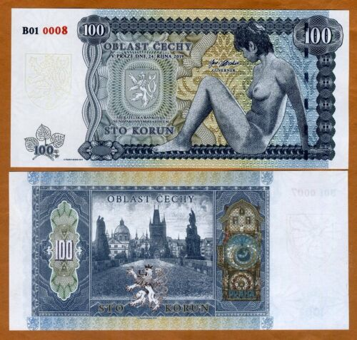 Bohemia, 100 Korun, Private Issue Essay, 2019, Limited Issue, Nude Allegory UNC