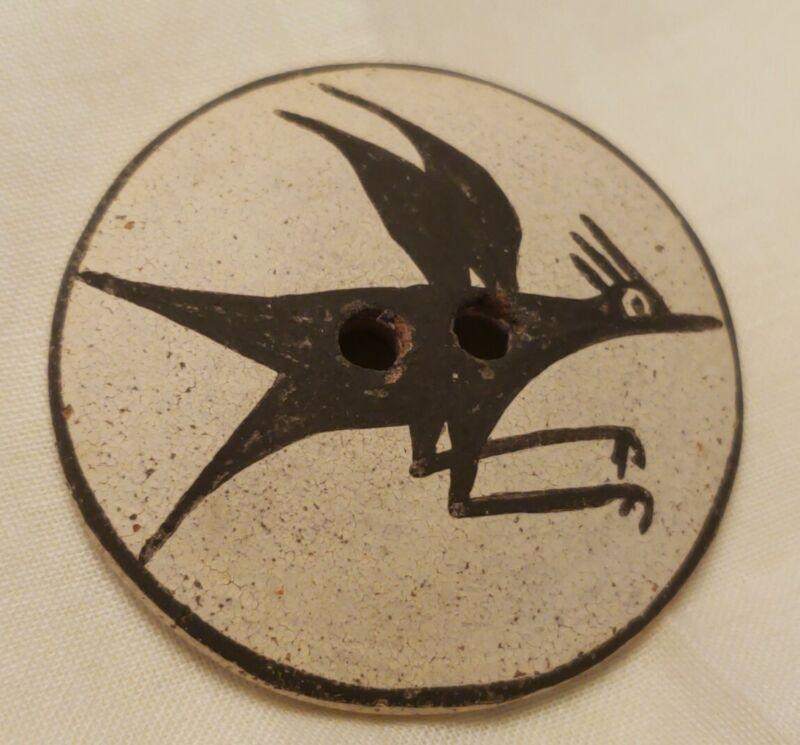 "Vintage Native American  Zia Indian ,Handmade Clay Button ,Bird, 1-5/8"""