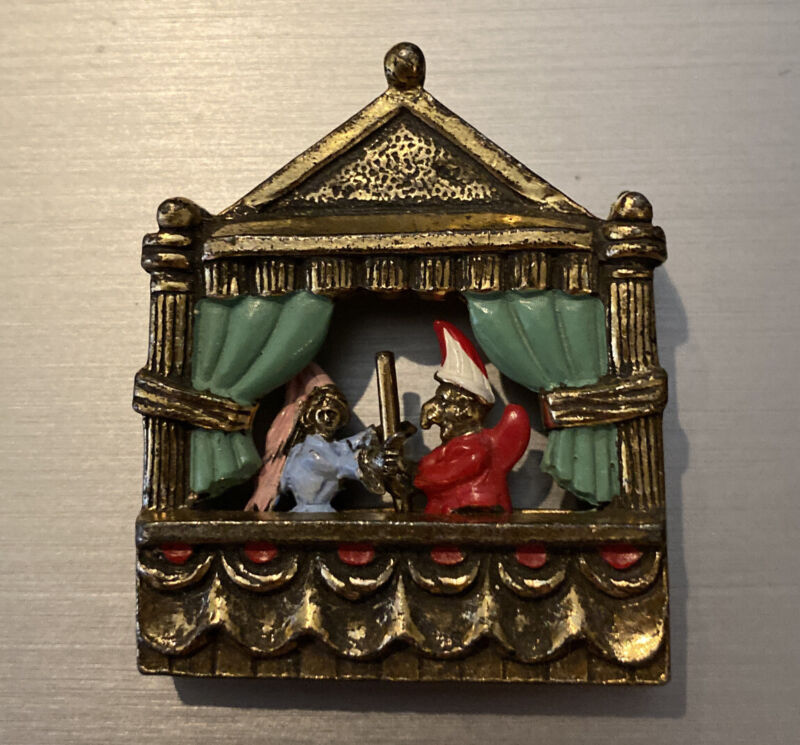 RARE Unusual Antique Punch And Judy Movable Pin Brooch 1920-30