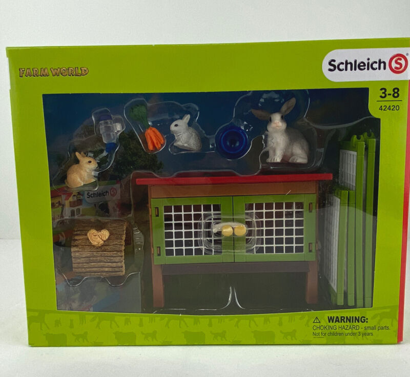 Schleich Farm World Bunny Rabbits Hutch Cage/Pen Play Set - New in Package 42420