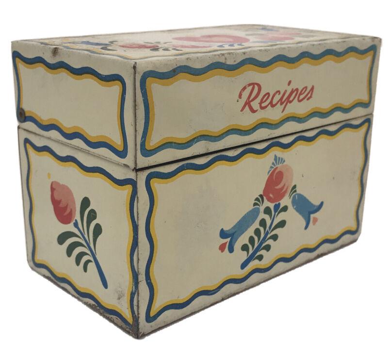 Vintage Metal Recipe Box Ohio Art Co